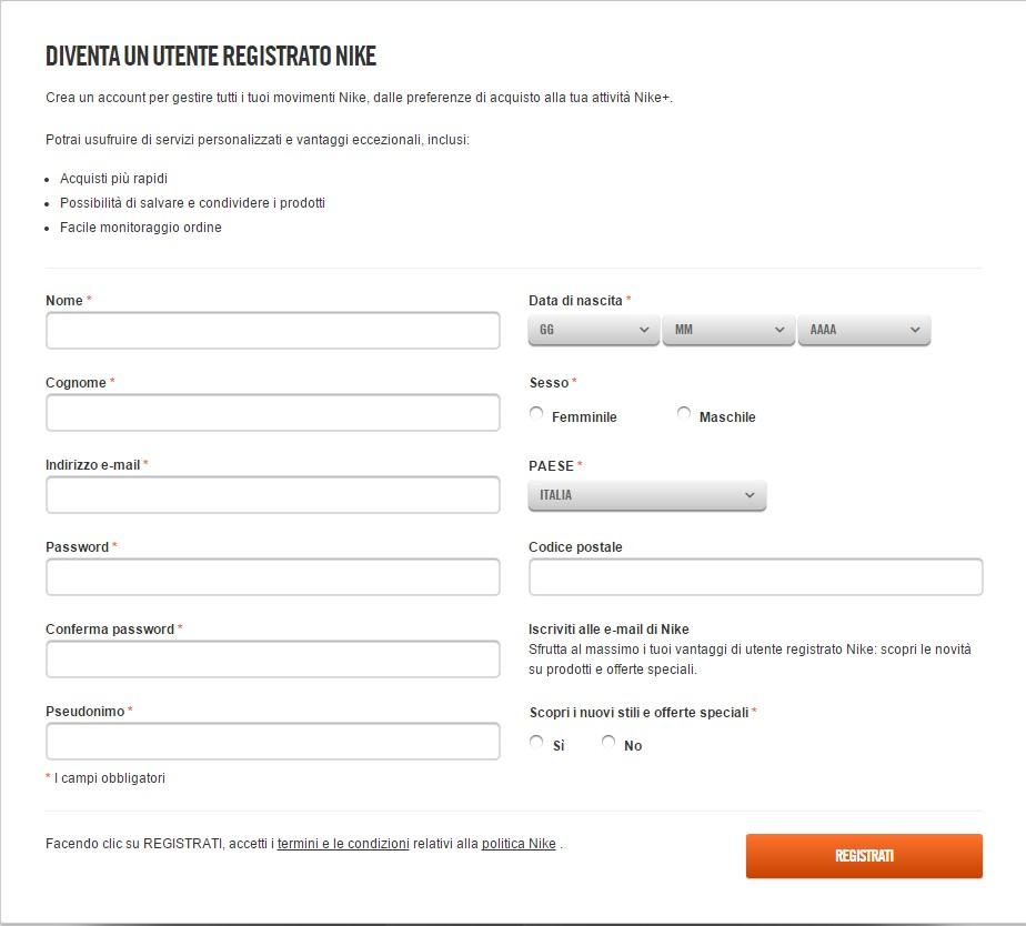 esempio Nike - raccolta e-mail