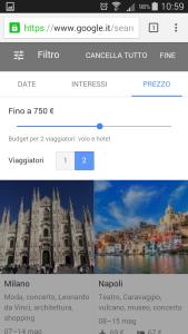 Google destinations - filtro prezzo
