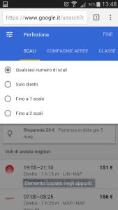 Google destinations - selezione voli