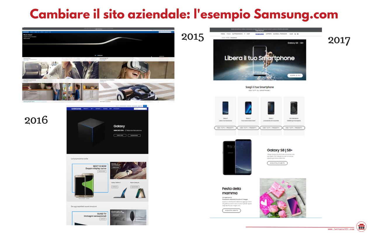 Cambiare il sito: esempio Samsung