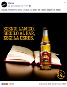 Ceres pubblicità su Facebook